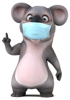 Leuke cartoon koala met een masker