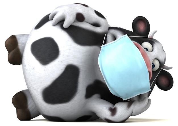 Leuke cartoon koe met een masker