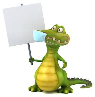 Leuke cartoon krokodil met een masker