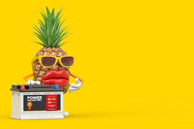 Leuke cartoon mode hipster gesneden ananas persoon karakter mascotte en oplaadbare auto batterij 12v accu met abstracte label op een gele achtergrond. 3d-rendering