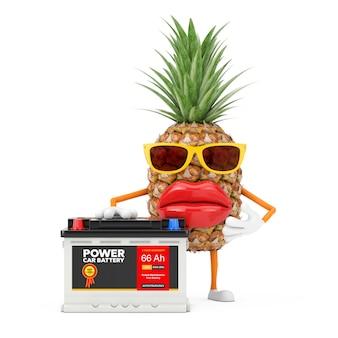 Leuke cartoon mode hipster gesneden ananas persoon karakter mascotte en oplaadbare auto batterij 12v accu met abstracte label op een witte achtergrond. 3d-rendering