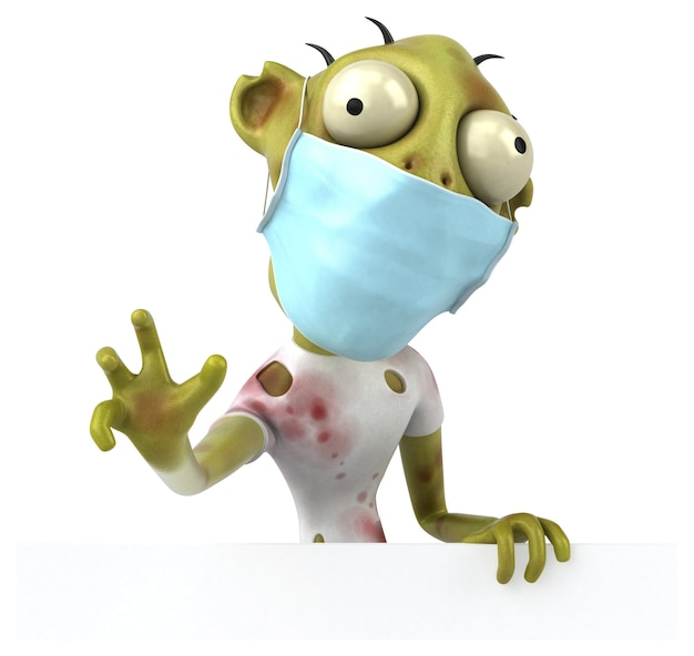 Leuke cartoon zombie met een masker