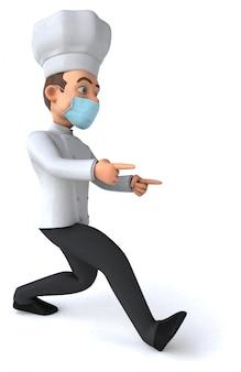Leuke chef-kok animatie met een masker