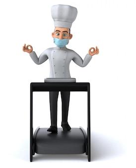 Leuke chef-kok man met een masker