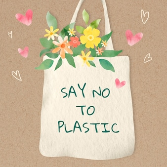Leuke draagtas met zeg nee tegen plastic tekst aquarel