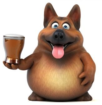 Leuke duitse herdershond met een biertje