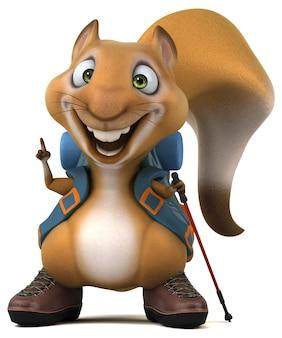 Leuke eekhoorn backpacker stripfiguur