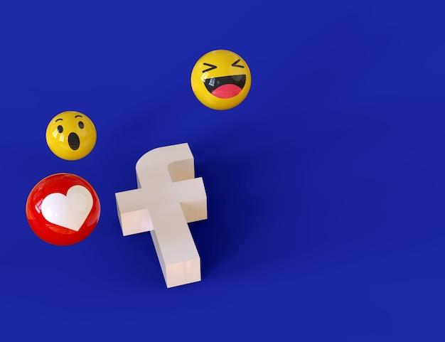 Leuke emoji facebook iconen rond 3d-rendering