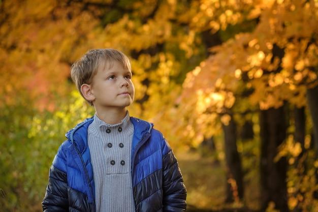 Leuke europese jongen in de herfstpark met geel gebladerte
