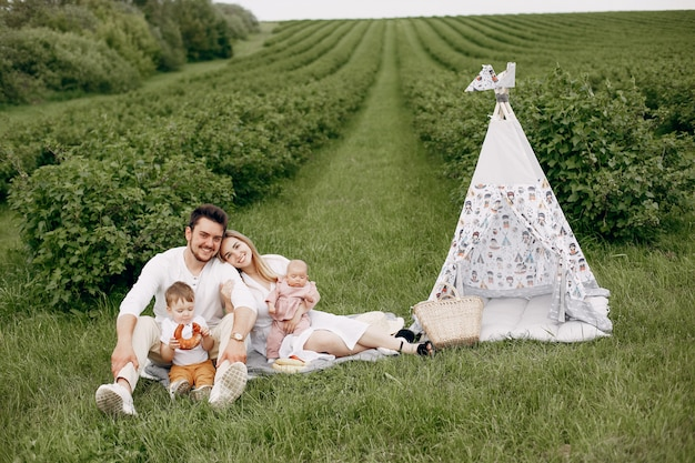 Leuke familie spelen in een zomer veld