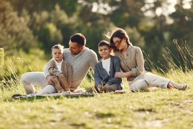 Leuke familie spelen in een zomer-veld
