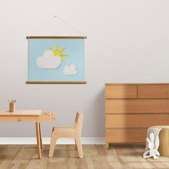 Leuke foto van droge klei die aan de muur hangt, kinderkamerdecor