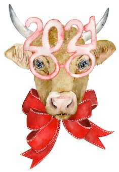 Leuke gehoornde koe met rode strik en in glazen