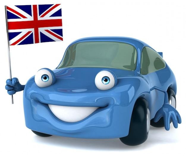 Leuke geïllustreerde auto die de vlag van engeland houdt