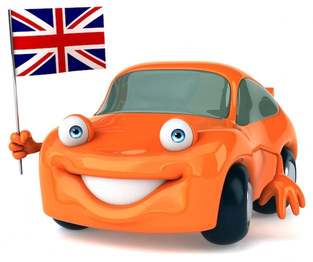 Leuke geïllustreerde auto die de vlag van het verenigd koninkrijk houdt