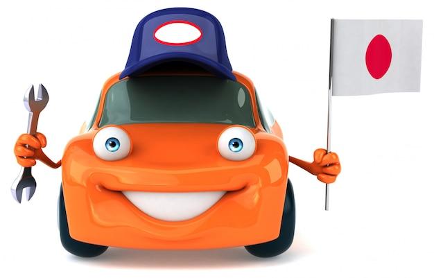 Leuke geïllustreerde auto die de vlag van japan houdt