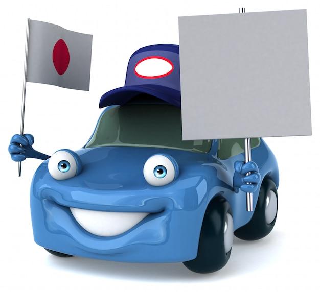 Leuke geïllustreerde auto met de vlag van japan en een leeg bordje