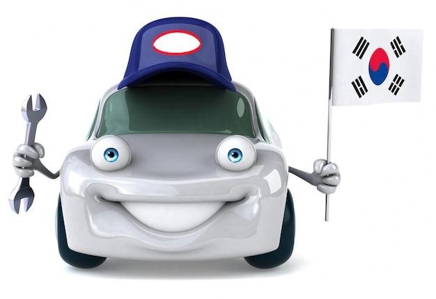 Leuke geïllustreerde auto met de vlag van zuid-korea