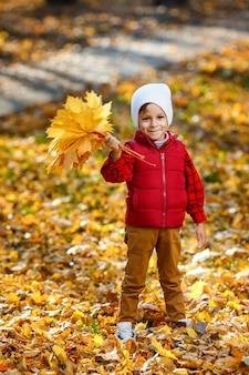 Leuke, gelukkige, blanke jongen in een rood shirt glimlachend en spelend met een boeket gele bladeren. klein kind plezier in herfst park. concept van gelukkige jeugd, bladeren vallen