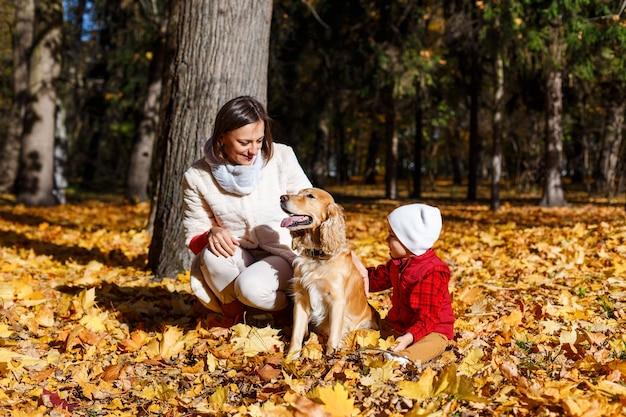 Leuke, gelukkige, blanke jongen in rood shirt glimlachend en spelend met hond onder gele bladeren. klein kind dat plezier heeft met zijn moeder in het herfstpark. concept van vriendschap tussen kinderen en huisdieren, gelukkige familie