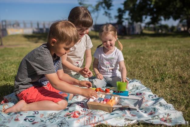 Leuke gelukkige kinderen in het park op een feestje macaron eten