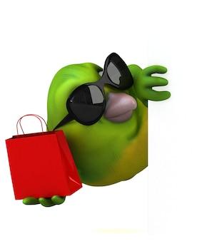 Leuke groene vogel - 3d illustratie