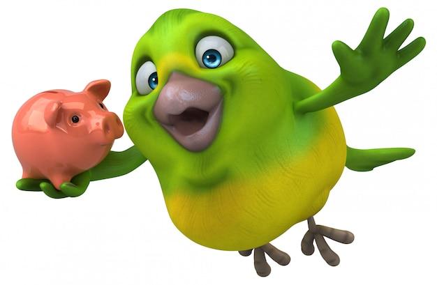 Leuke groene vogel animatie