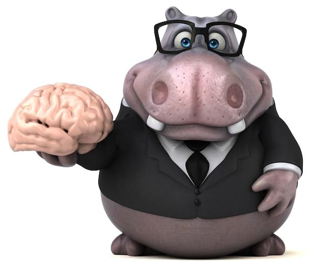Leuke hippo 3d illustratie