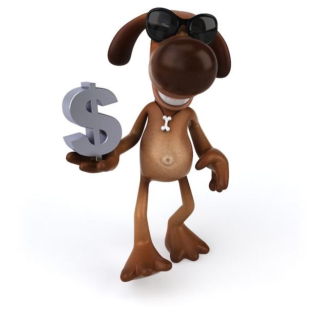 Leuke hond met een dollarteken in zijn hand