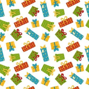 Leuke huidige doos op witte achtergrond naadloze patroon hand getrokken geschenken herhaal print