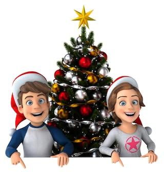 Leuke illustratie van cartoon kinderen met een kerstboom