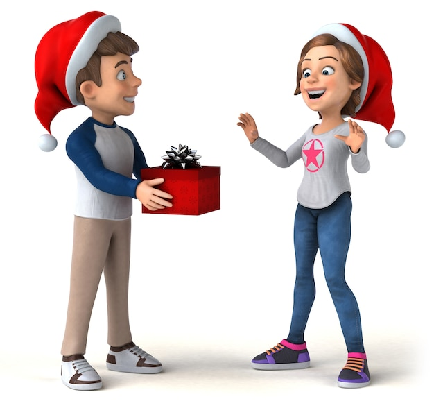 Leuke illustratie van cartoon kinderen met kerst hoeden