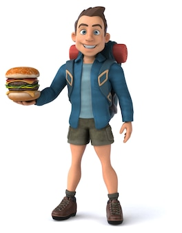 Leuke illustratie van een 3d cartoon backpacker