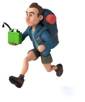 Leuke illustratie van een cartoon backpacker