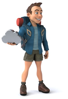 Leuke illustratie van een cartoon backpacker