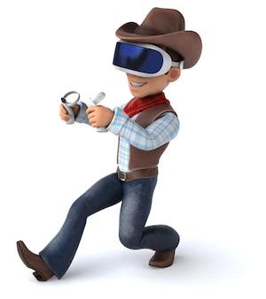 Leuke illustratie van een cowboy met een vr-helm