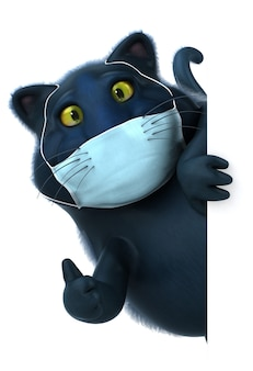 Leuke illustratie van een kat met een masker