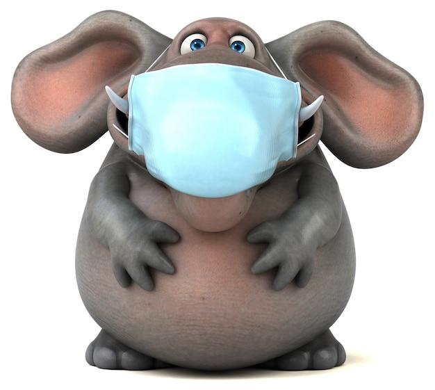 Leuke illustratie van een olifant met een masker