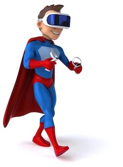 Leuke illustratie van een superheld met een vr-helm