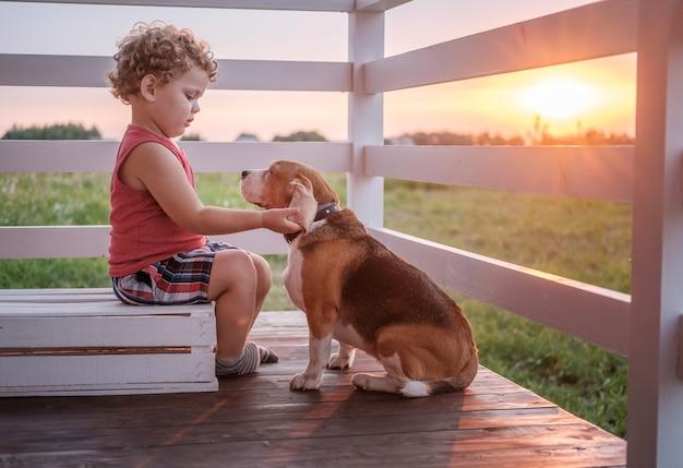 Leuke jongen en hond beagle zitten knuffelen op de veranda van het huis op een zomeravond tegen de zonsondergang