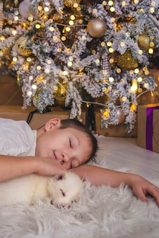 Leuke jongen slapen met een puppy onder de kerstboom in de lichten van de slinger, nieuwjaar
