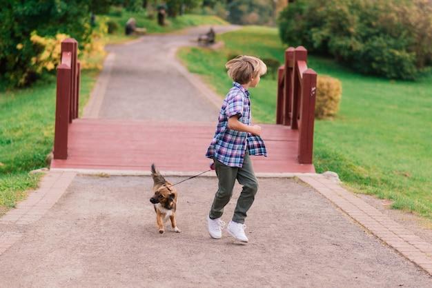 Leuke jongen spelen en wandelen met zijn hond in de wei.