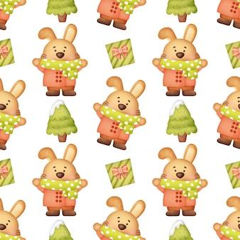 Leuke kerst konijnen naadloze patronen.