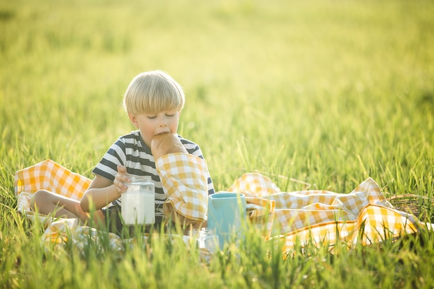 Leuke kindconsumptiemelk in openlucht. vrolijke jongen op de picknick