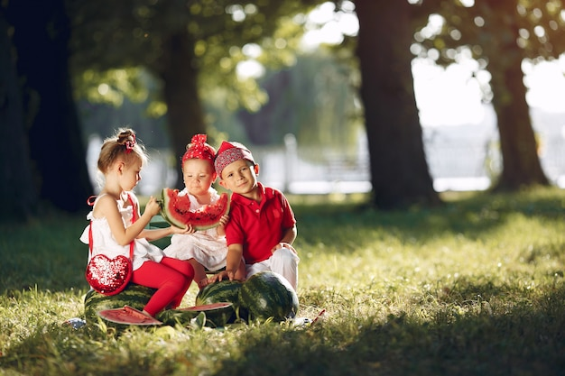 Leuke kleine kinderen met watermeloenen in een park