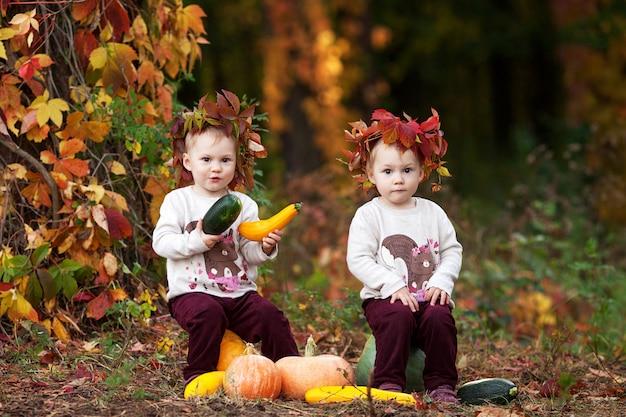 Leuke kleine tweelingmeisjes die met pompoen in de herfstpark spelen. halloween en thanksgiving tijd leuk voor familie.