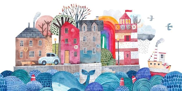 Leuke oude stad op een eiland in de oceaan. zeehaven. reiziger briefkaart. schilderen voor de kinderkamer. oude stadslandschap.