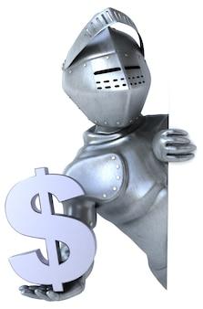 Leuke ridder die het dollarteken houdt
