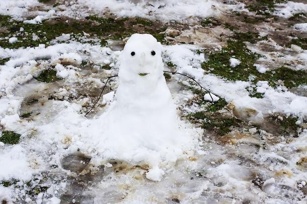 Leuke sneeuwpop op landelijke werf.