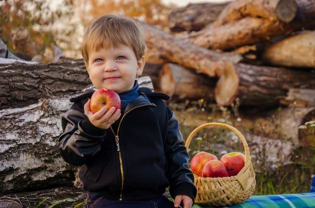 Leuke stijlvolle jongen van twee jaar in een zwarte jas en spijkerbroek zit op log in de tuin en eet een sappige rode appel uit een rieten mand in de herfst